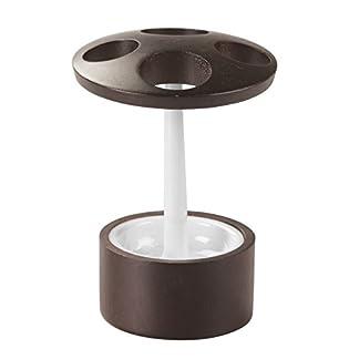 InterDesign Formbu porta cepillo de dientes | Soporte para cepillo de dientes eléctrico |Bonitos accesorios para baños en madera |Bambú/plástico blanco/marrón