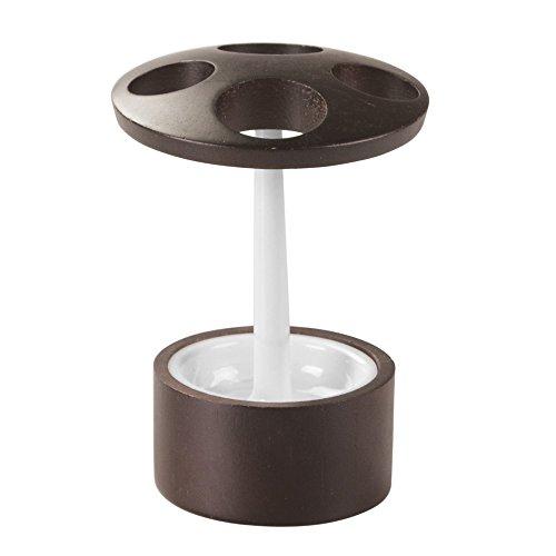 iDesign Formbu Zahnbürstenhalter | auch als Halter für elektrische Zahnbürsten geeignet | schönes Badaccessoire aus Holz | Bambus/Kunststoff weiß/braun