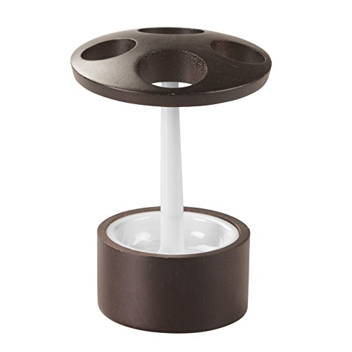 iDesign Formbu Zahnbürstenhalter, weiß/braun, bambus/kunststoff