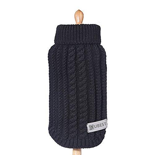 ubest Hundepullover, Sweater Gestrickter Pullover für Kleine Hunde, Hunde Pullover für Herbst Winter, Schwarz, XS