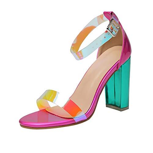 Scarpe Kinlene Scarpe da Donna con Tacco Alto Vendita Cinturino con Fibbia Sandali Peep Toe in PVC