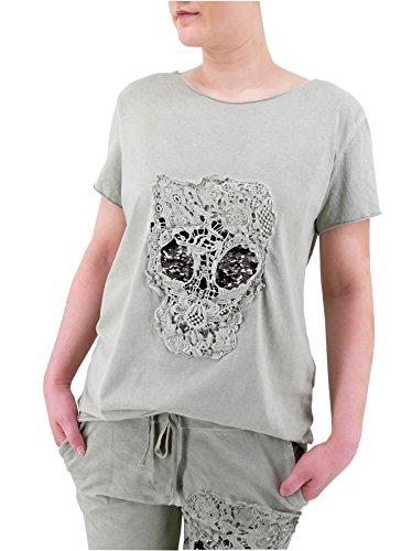 Damen Blogger Style T-Shirt Totenkopf aus Häkel Spitze mit Wende-Pailletten (8491) Hell oliv grün