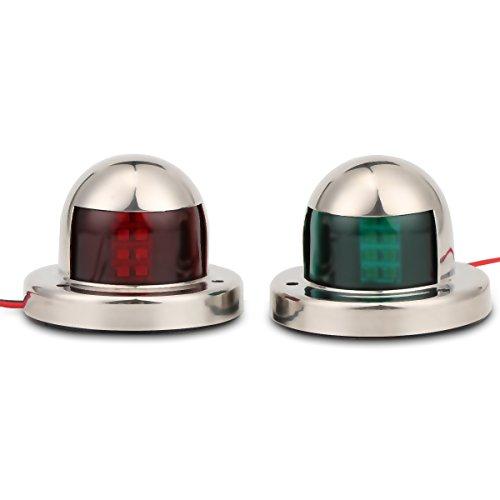 Boot Navigationslicht , 2 Stück Edelstahl Grün und Rot Navigationsleuchten LED Sicherheit Signal Nachtlichter Bogen Bord und Steuerbord Lichter Marine Boat Yacht-Licht 12V