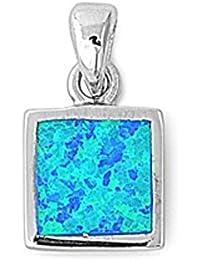 925 Pendentif en Argent Fin à Opale Synthétique - Pierre: Opale Bleue Synthétique