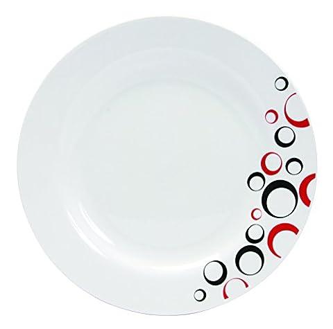 Novastyl - 7154051 - Assiettes Bulleo - Porcelaine - Rouge/Noir - Lot de 6