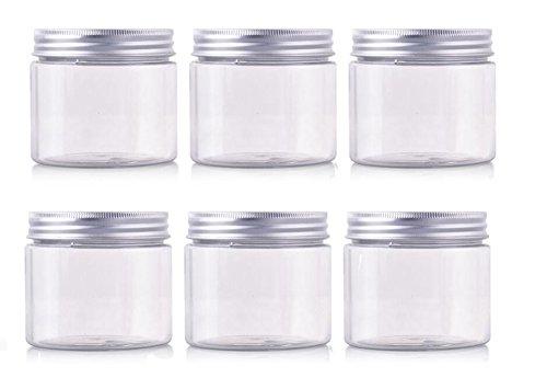 50 g/100 g/150 g pour animal domestique Plastique vide Cosmétique conteneurs Cases avec capuchons en aluminium Argenté Crème Lotion Box pommades Bouteille Pot de maquillage Lot de 6 bocaux