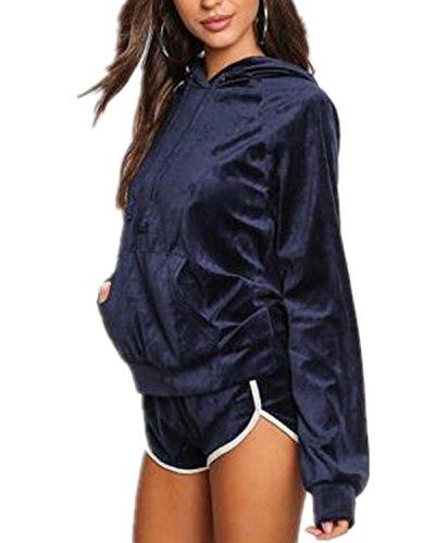 Auxo Damen Trainingsanzug Hoodie Langarm Kapuzenpullover Kurz Hosen Sport Freizeit Samt Jogginganzug Blau EU 38/Etikettgröße M