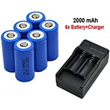 Malloom 6 x 2000mAh 16340 Batería de ion-litio recargable Para linterna LED + Cargador CR123A