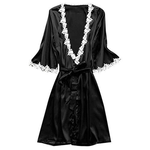 Toamen 2019 moda nuova tuta sportiva biancheria intima di pizzo semplice vestito sexy da notte in seta con pigiama da donna(nero,l)