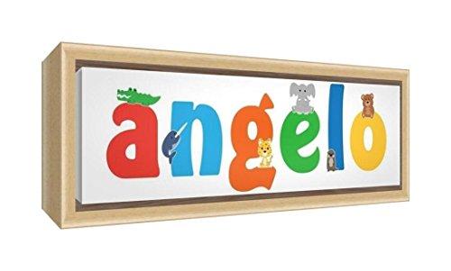 Little helper lhv-angelo-1542-fcnat-15it stampa su tela incorniciata legno naturale, disegno personalizzabile con nome da ragazzi angelo, multicolore, 19 x 46 x 3 cm