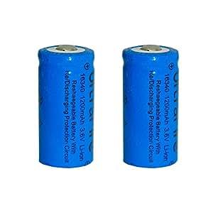 Skytower CR123A Lot de 2 piles rechargeables au lithium-ion pour lampe torche Ultrafire 3,7 V 1200 mAh