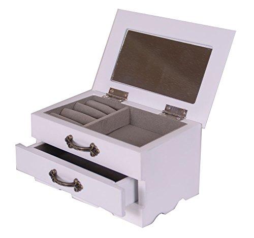 Schmuckkästchen aus Holz One Schublade Hülle/Schrank/Schmuckkästchen mit Spiegel klein (Pull-out-schubladen-schränke)