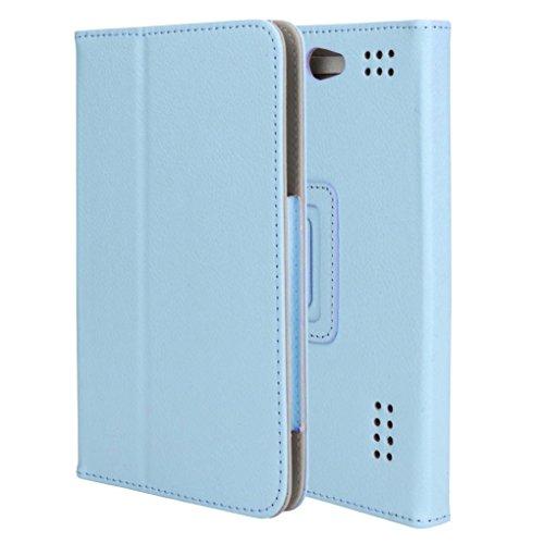 7 Zoll Android Tablet PC Schutz Abdeckungs Fall Universal Folio Ledertasche Abdeckungs Standplatz für Meisten 7 Zoll Tablet PC Anti-Dirt / Anti-Shock / Einfach zu Tragen Multicolor Optional (Blue) (7-zoll-tablet-fällen)