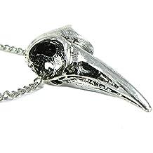Serebra Jewelry - Colgante con cadena, diseño de calavera de cuervo