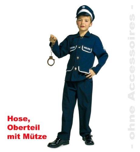 narrenwelt Polizist Petersen 116 Polizei Anzug Kinder blau 3tlg Gr 104 - - Polizei Anzug Kostüm