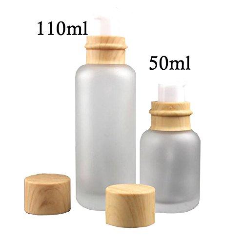 1 PC vide Flacon rechargeable conteneurs de bouteilles en verre dépoli Tête de Pompe à Pression à maquillage Crème de lotion pour voyage et maison