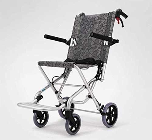 L-Y Zusammenklappbarer Leichter Älterer Rollstuhl und Handbremse Sowie Tragbarer Offroad-Reisestuhl für Ältere Rollstuhlfahrer aus Aluminium mit Tasche (Offroad-rollstuhl)