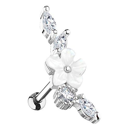 Piersando Tragus Helix Ohr Piercing Cartilage Knorpel Stab Stecker 316 L Chirurgenstahl Vintage Blume mit Strass Kristallen Steinen Silber