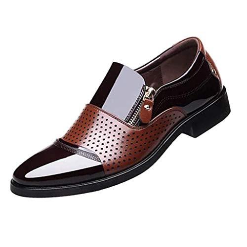 CixNy Anzugschuhe Herren Business Schuhe, Atmungsaktiv Oxford Anzug Leder Derby Männer Seitlicher Reißverschluss Lackleder Lederschuhe Elegant Brawn Schwarz 38-48 (Braun, ()
