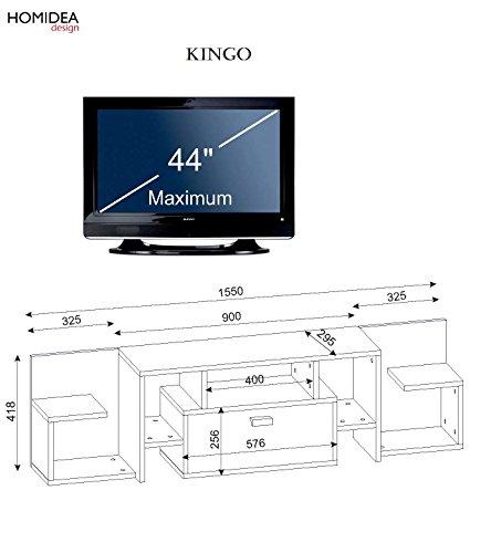 KINGO Wohnwand – Weiß / Avola – TV Lowboard mit Regale / Wandboard in modernem Design - 3