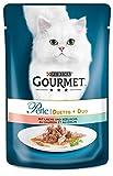 Gourmet Perle Katzenfutter Duetto di Mare mit Lachs und Seelachs, 24er Pack (24 x 85 g) Beutel
