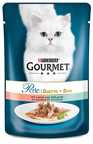 Gourmet Perle Katzenfutter Duetto di Mare mit Lachs und Seelachs, 24er Pack (24 x 85 g) Beutel (Lachs Perlen)