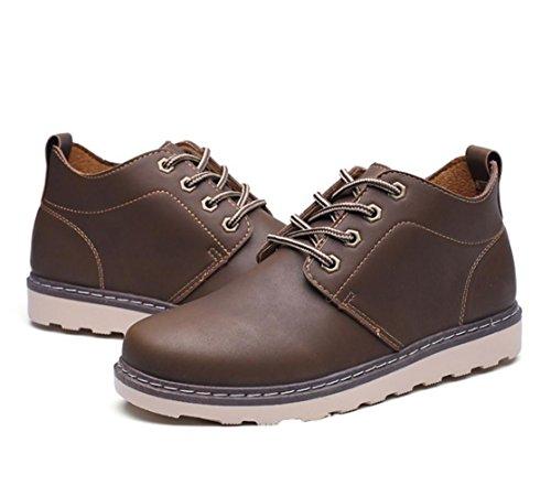 WZGchaussures marée chaussures outillage chaussures en vrac Les nouveaux hommes de mode de style britannique chaussures en cuir chaussures casual hommes d'outillage Dark Brown
