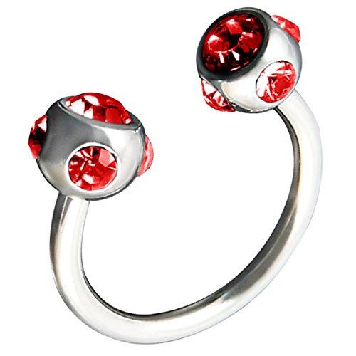 Piersando Piercing Hufeisen Septum Ring Kugel mit Kristallen für Tragus Helix Nase Lippe Ohr Intim Nippel Augenbraue Brust Horseshoe Silber Rot
