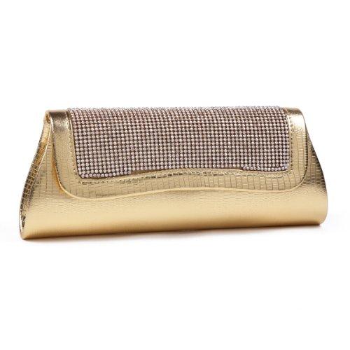 Damara Glitzernde Kunstleder Clutch Handtasche Damen Abendtasche,Schwarz Gold