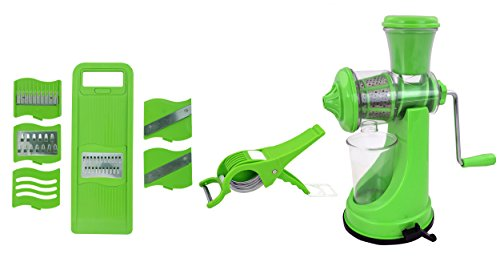 BluZon® Premium Kitchen Tools Combo of Green Manual Juicer, 6 in 1 Slicer and Veg Cutter with Peeler