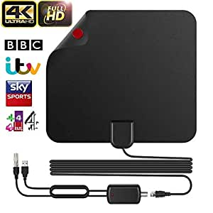 TV Aerial, TELEV Amplified Digital TV Aerial 65+ Miles Range with Detachable Amplifier Signal Booster 4K 1080P HD Life Local Channels Support All Types of Built-in Tuner Smart TV/Radio -Newest Version