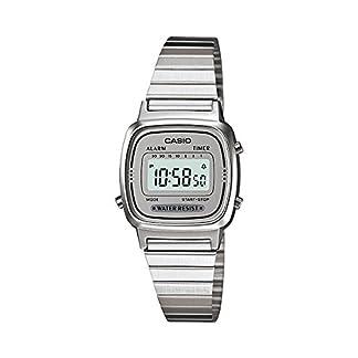 CASIO Reloj Digital para Mujer de Automático con Correa en Acero Inoxidable Chapado en Platino LA-670WA-7
