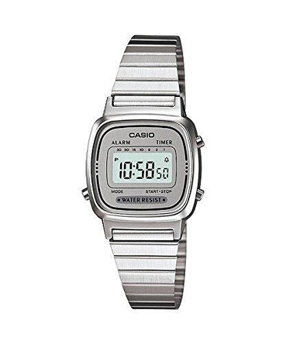CASIO Reloj Digital para Mujer de Automático con Correa en Acero Inoxidable Chapado en Platino LA-670WA-7...