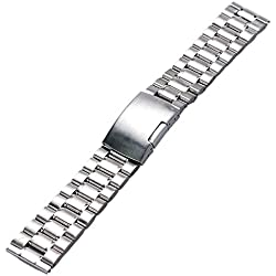 YISUYA Sliver 20mm Solid Stainless Steel Watch Band Strap 2.0cm Single-locking Fold-over Clasp Polished Metal Watch Bracelet