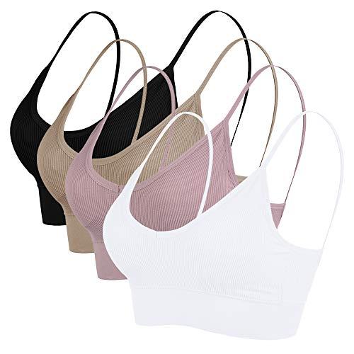Vertvie Damen Sport BH Bustier Stretch ohne Bügel Nahtlose Gepolsterte mit Spaghetti Bra Sensual BH Top 1/3/4er Pack(Schwarz+Weiß+Khaki+Pink lila, EU S/Tag M) -
