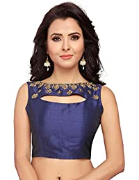 d6fe713f0d0 STUDIO SHRINGAAR WOMEN S NAVY BLUE POLY RAW SILK EMBROIDERED READYMADE  SAREE BLOUSE