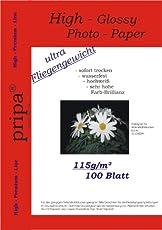 pripa 100 Blatt Fotopapier DIN A4 , 115g/qm, extra leicht leicht/dünn, glossy (glaenzend) -sofort trocken -wasserfest-hochweiß-sehr hohe Farbbrillianz, fuer InkJet Drucker (Tintenstrahldrucker).