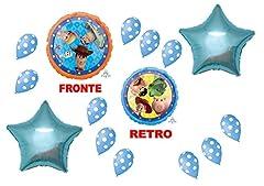 Idea Regalo - Toy Story 4 Woody E Buzz Lightyear PALLONE FOIL SUPERSHAPE KIT BOUQUET CENTROTAVOLA SULA DA GONFIARE AD ARIA O ELIO - Cdc - (1 PALLONE FOIL,10 PALLONCINI POIS,2 Foil Forma Stella)