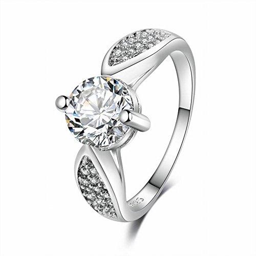 Thumby Verkupferter Ring aus Weißgold mit Zirkon Besetzt Damenring mit Diamant-Gravur aus Einzelstein mit Diamanten Besetzt Zirkoninlay Eingelegter Damenzirkon, im Bild, 10