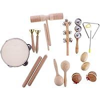 MagiDeal Set de 10 Piezas Juguete de Instrumentos de Percusión Ritmo Handbell de Marioneta Campana de Pandereta para Bebé
