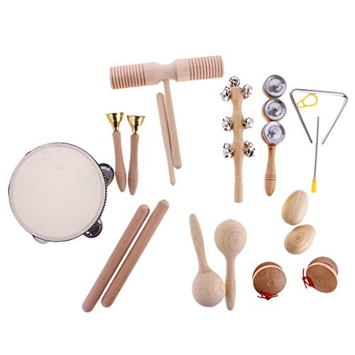 MagiDeal Set of 10pcs Mini Musikinstrument (inkl. Hand Tamburin , Sand Hammer , Kastanisch ,Sand Ei, Rassel, Becken ,Rhythmus-Dreieck ,Rhythmusstöcke, Tinkle Bell, Sound Guiro) Baby Spielzeug