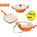 NIRLON New Reinforced 4 Layer Ceramic Coating Non-Stick Induction Friendly 3 Pieces Combo Cooking Pans & Pots Set Cook And Serve (Aluminium, Stainless Steel, Bakelite, Glass)Orange Colour.