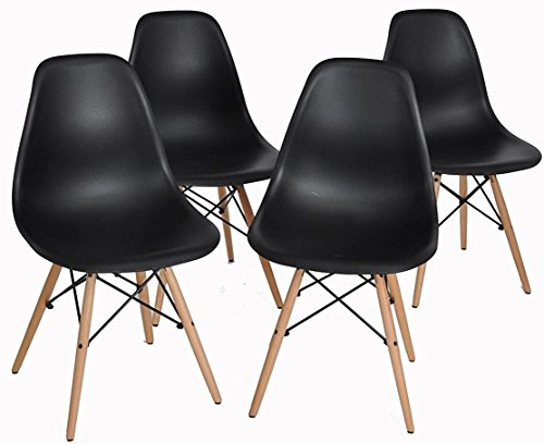 ArtDesign FR Chaises de Style Eames, Pieds de Base en Bois de Hêtre Naturel, Ensemble de 4, Design Ergonomique, Look Moderne Mid-Century (Eames-Noir)