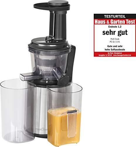 Profi Cook PC-SJ 1141 Slow Juicer, Elektrischer Entsafter, Optimale, vitaminerhaltende Saftausbeute, Edelstahlgehäuse