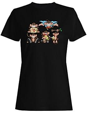 Nueva Sonrisa Divertida De Los Monos Cómicos camiseta de las mujeres h765f