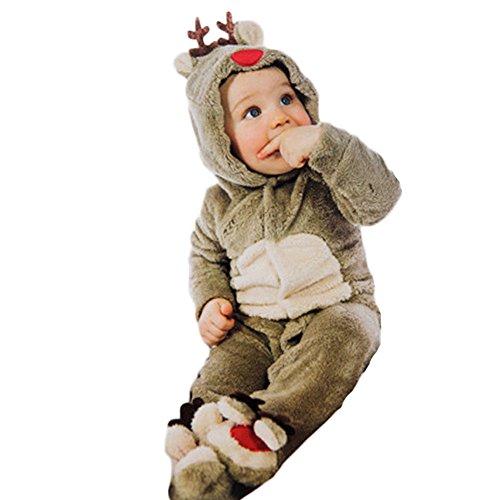 Baby Rentier Kostüm - Costour Baby Kinder Rentier Kostüm Overall Jumpsuit mit Kapuze Weicher Flaum