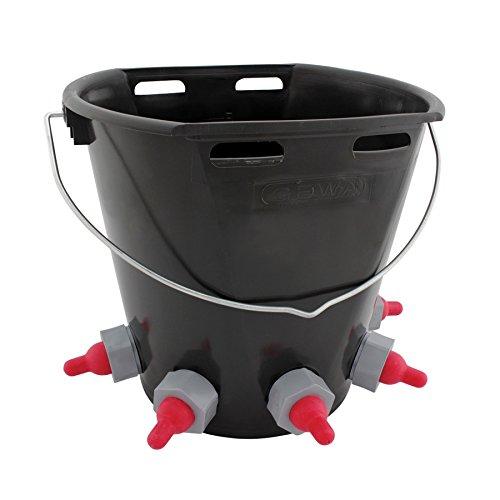 GEWA Lämmereimer 8 Liter, mit 5 Saugstellen, Ventilen und Halterung, Lämmer-Tränkeeimer, Tränkeeimer für Lämmer