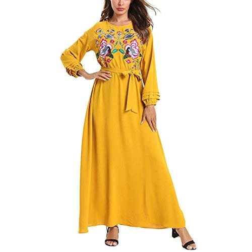 Bestickte Kapuzen-robe (YCLOTH Damen Maxikleid, einfarbige Nähte zum Schnüren, bestickte plissierte Roben, Mode-Langarm-Damenbekleidung-yellow-M)