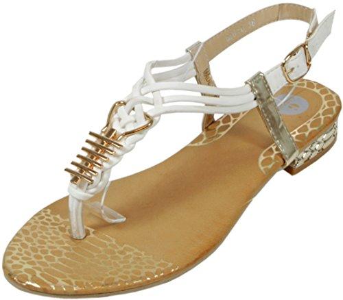 Slanna - edle Sandale mit goldenen Metall-Applikationen Zehentrenner LederOptik Damen Sommer Schuhe 36 37 38 39 40 41 Kamm - Gold - Weiß