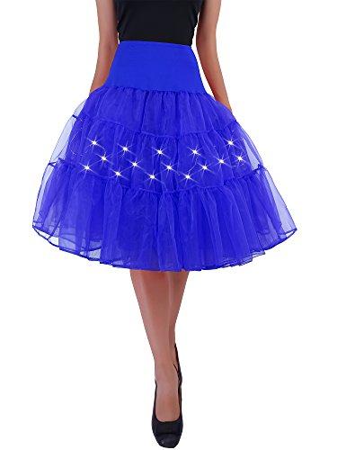 HENCY Karneval Fasching Kostüm Retro Petticoat Rock Ballett Tutu Unterrock Mit LED Licht Blau